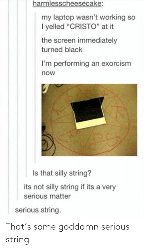 """Very Serious: harmlesscheesecake:  my laptop wasn't working so  I yelled """"CRISTO"""" at it  the screen immediately  turned black  I'm performing an exorcism  now  Is that silly string?  its not silly string if its a very  serious matter  serious string. That's some goddamn serious string"""