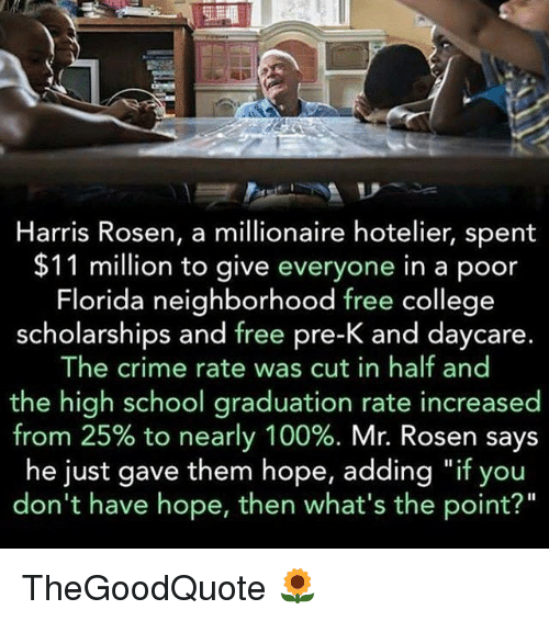"""cut in half: Harris Rosen, a millionaire hotelier, spent  $11 million to give everyone in a poor  Florida neighborhood free college  scholarships and free pre-K and daycare  The crime rate was cut in half and  the high school graduation rate increased  from 25% to nearly 100%  Mr. Rosen says  he just gave them hope, adding """"if you  don't have hope, then what's the point?"""" TheGoodQuote 🌻"""