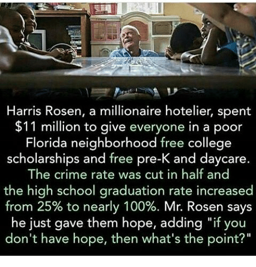 """cut in half: Harris Rosen, a millionaire hotelier, spent  $11 million to give everyone in a poor  Florida neighborhood free college  scholarships and free pre-K and daycare  The crime rate was cut in half and  the high school graduation rate increased  from 25% to nearly 100%. Mr. Rosen says  he just gave them hope, adding """"if you  don't have hope, then what's the point?"""""""