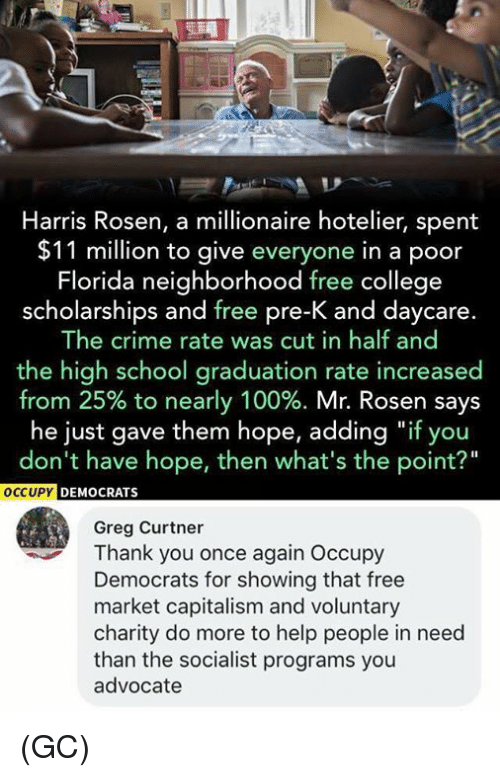 """cut in half: Harris Rosen, a millionaire hotelier, spent  $11 million to give everyone in a poor  Florida neighborhood free college  scholarships and free pre-K and daycare.  The crime rate was cut in half and  the high school graduation rate increased  from 25% to nearly 100%. Mr. Rosen says  he just gave them hope, adding """"if you  don't have hope, then what's the point?""""  CCUPY DEMOCRATS  Greg Curtner  Thank you once again Occupy  Democrats for showing that free  market capitalism and voluntary  charity do more to help people in need  than the socialist programs you  advocate (GC)"""