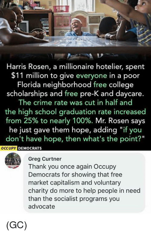 """cut in half: Harris Rosen, a millionaire hotelier, spent  $11 million to give everyone in a poor  Florida neighborhood free college  scholarships and free pre-K and daycare.  The crime rate was cut in half and  the high school graduation rate increased  from 25% to nearly 100%. Mr. Rosen says  he just gave them hope, adding """"if you  don't have hope, then what's the point?""""  OCCUPY  C  EMOCRATS  Greg Curtner  Thank you once again Occupy  Democrats for showing that free  market capitalism and voluntary  charity do more to help people in need  than the socialist programs you  advocate (GC)"""