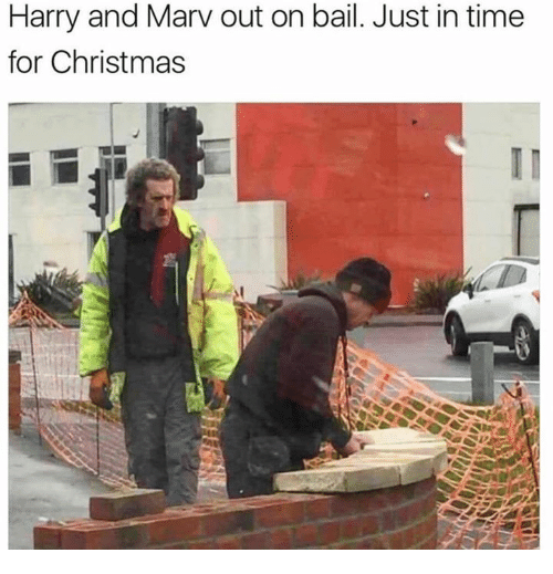 Christmas, Memes, and Time: Harry and Marv out on bail. Just in time  for Christmas