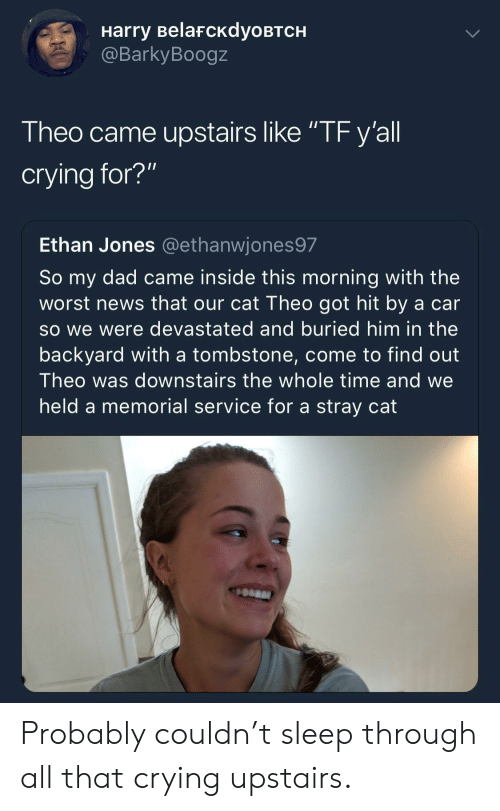 "Crying, Dad, and News: Harry BelafcKdyoBTCH  @BarkyBoogz  Theo came upstairs like ""TF y'all  crying for?""  Ethan Jones @ethanwjones97  So my dad came inside this morning with the  worst news that our cat Theo got hit by a car  so we were devastated and buried him in the  backyard with a tombstone, come to find out  Theo was downstairs the whole time and we  held a memorial service for a stray cat Probably couldn't sleep through all that crying upstairs."