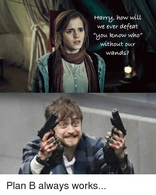 """Funny, Plan B, and How: Harry, how will  we ever defeat  """"you know who  without our  wands? Plan B always works..."""