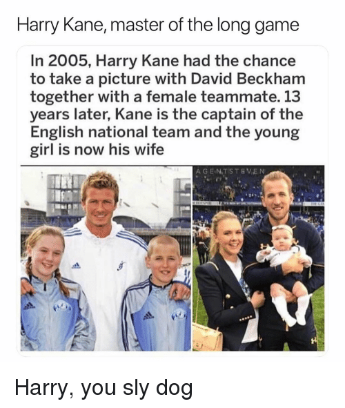 David Beckham, Soccer, and Sports: Harry Kane, master of the long game  In 2005, Harry Kane had the chance  to take a picture with David Beckham  together with a female teammate. 13  years later, Kane is the captain of the  English national team and the young  girl is now his wife  A GEN.TSTEVEN Harry, you sly dog