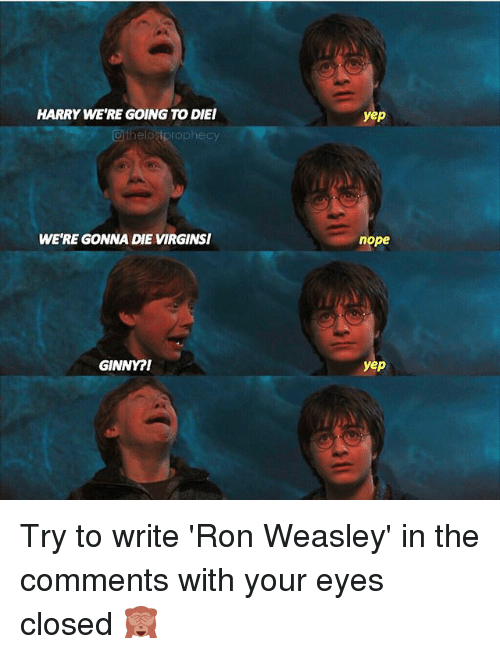 Nopeds: HARRY WE'RE GOING TO DIEI  @thelostprophecy  yep  WE'RE GONNA DIE VIRGINSI  nope  GINNY?I  yep Try to write 'Ron Weasley' in the comments with your eyes closed 🙈