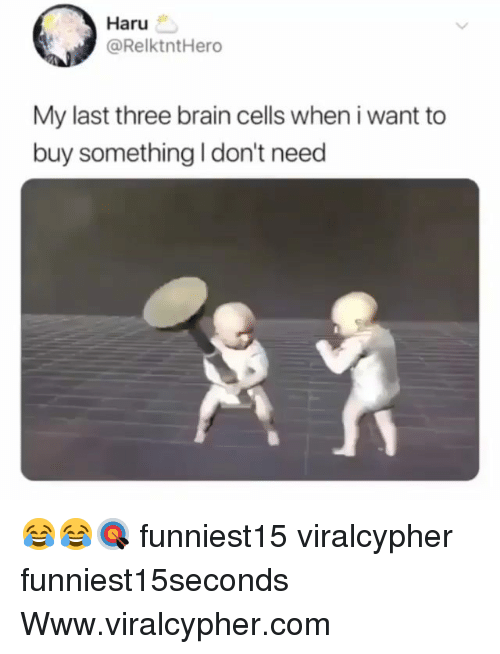 Funny, Brain, and Com: Haru  @RelktntHero  My last three brain cells when i want to  buy something I don't need 😂😂🎯 funniest15 viralcypher funniest15seconds Www.viralcypher.com