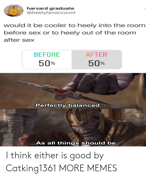 cooler: harvard graduate  @heelyfanaccount  would it be cooler to heely into the room  before sex or to heely out of the room  after sexX  BEFORE  AFTER  50%  50%  Perfectly balanced...  ...As all things should be I think either is good by Catking1361 MORE MEMES