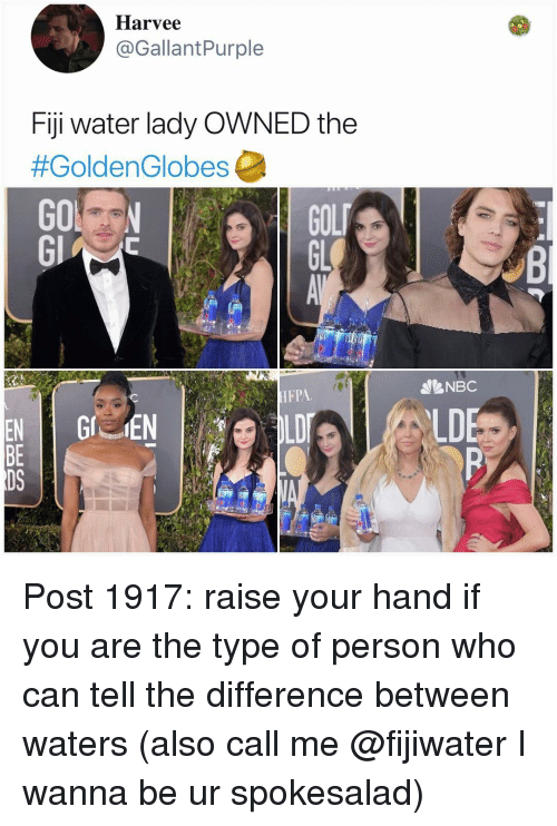 Fiji: Harvee  @GallantPurple  Fiji water lady OWNED the  #GoldenGlobes  GOL  GL  NBC  HFPA  LD  BE  DS Post 1917: raise your hand if you are the type of person who can tell the difference between waters (also call me @fijiwater I wanna be ur spokesalad)
