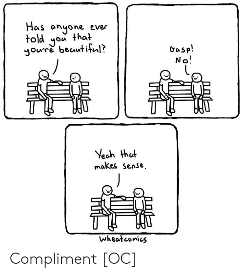 Beautiful, Yeah, and You: Has anyone ever  told you that  youre beautiful?  Gasp!  No!  Yeah that  makes sense  wheatconies Compliment [OC]
