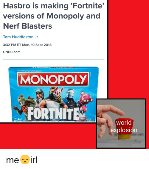 Hasbro Is Making Fortnite Versions Of Monopoly And Nerf Blasters