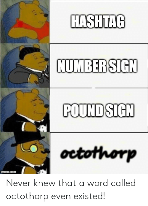 pound sign: HASHTAG  NUMBER SIGN  POUND SIGN  octothorp  imgflip.com Never knew that a word called octothorp even existed!