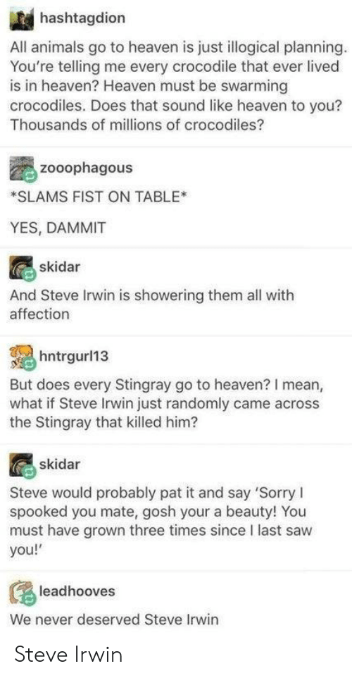 Animals, Heaven, and Saw: hashtagdion  All animals go to heaven is just illogical planning  You're telling me every crocodile that ever lived  is in heaven? Heaven must be swarming  crocodiles. Does that sound like heaven to you?  Thousands of millions of crocodiles?  zooophagous  SLAMS FIST ON TABLE*  YES, DAMMIT  skidar  And Steve Irwin is showering them all with  affection  l13  But does every Stingray go to heaven? I mean,  what if Steve Irwin just randomly came across  the Stingray that killed him?  skidar  Steve would probably pat it and say 'Sorry I  spooked you mate, gosh your a beauty! You  must have grown three times since I last saw  you!  leadhooves  We never deserved Steve Irwin Steve Irwin