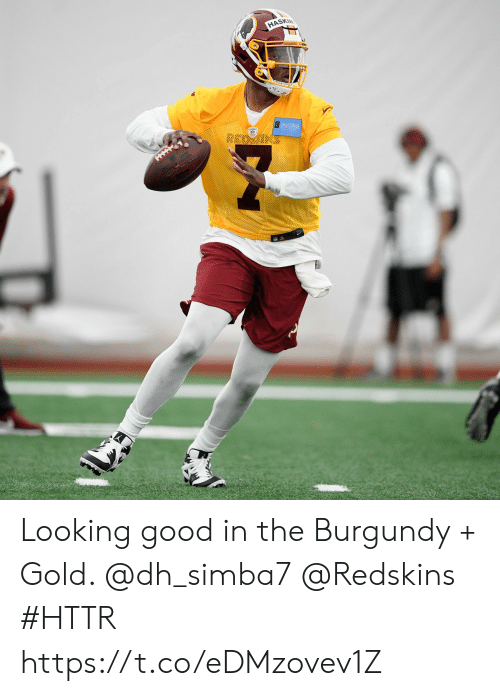 looking good: HASKIN Looking good in the Burgundy + Gold. @dh_simba7 @Redskins   #HTTR https://t.co/eDMzovev1Z