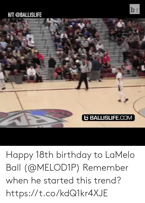 He Started: HAT @BALLISLIFE  ti BALLISLIFE.COM Happy 18th birthday to LaMelo Ball (@MELOD1P)  Remember when he started this trend?   https://t.co/kdQ1kr4XJE
