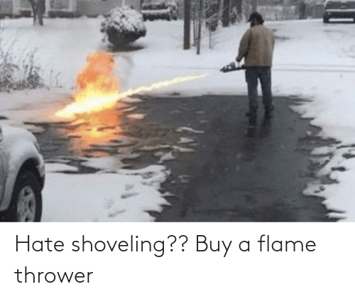 Buy A: Hate shoveling?? Buy a flame thrower