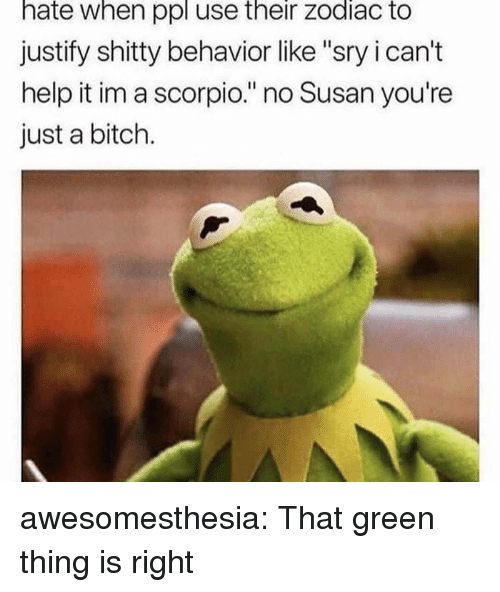 "Bitch, Tumblr, and Blog: hate when ppl use their zodiac to  justify shitty behavior like ""sry i can't  help it im a scorpio."" no Susan you're  just a bitch. awesomesthesia:  That green thing is right"