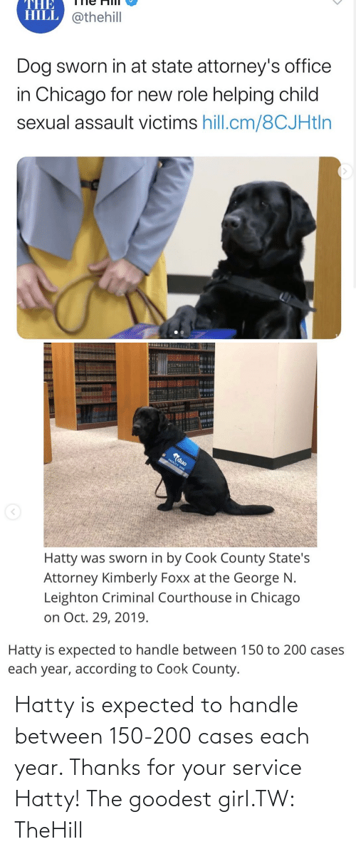 Each: Hatty is expected to handle between 150-200 cases each year. Thanks for your service Hatty! The goodest girl.TW: TheHill