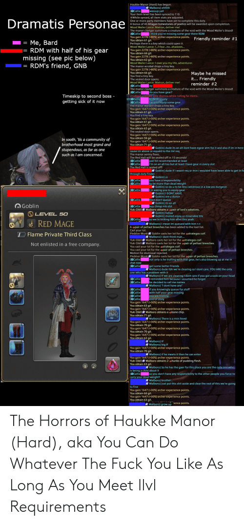 Ass, Community, and Dude: Haukke Manor (Hard) has begun.  Malboro) ehhhh  wassup yall  (1 Callie  Your item level has been synced to 110.  While synced, all item stats are adjusted.  One or more party members have yet to complete this duty.  A bonus of 40 Allagan tomestones of poetics will be awarded upon completion.  Wood Wailer Lance: Matron, deliver me!  The manor claviger summons a creature of the void with the Wood Wailer's blood!  (1 Callie  You gain 2278 (+80 % ) archer experience points. Friendly reminder #1  You obtain 61 gil.  Perhaps there is a key which could open it.  Wood Wailer Lance: ...f-fear...no...shadows..  Dramatis Personae  i think you're missing some gear there RDM  Ме, Bard  RDM with half of his gear  missing (see pic below)  RDM's friend, GNB  You gain 2278 (+80 % ) archer experience points.  You obtain 66 gil.  You gain 2278 (+80 % ) archer experience points.  You obtain 62 gil.  Wood Wailer Lance: I owe you my life, adventurer.  The manor acrobat drops a tiny key.  You gain 2278 (+80% ) archer experience points.  You obtain 66 gil.  You find a tiny key.  The sealed door opens.  Wood Wailer Lance: Matron, deliver me!  (1 Callie  The manor claviger summons a creature of the void with the Wood Wailer's blood!  (1 Callie  Unable to initiate vote dismiss while rolling for items.  (1 Callie  (1 Callie  The manor warden drops a tiny key.  You gain 1647 (+30 % ) archer experience points.  You obtain 61 gil.  You find a tiny key.  You gain 1647 (+30 % ) archer experience points.  You obtain 61 gil.  You gain 1647 (+30 % ) archer experience points.  You obtain 62 gil.  The sealed door opens.  You gain 1647 (+30 % ) archer experience points.  You obtain 59 gil.  You gain 1647 (+30 % ) archer experience points.  You obtain 71 gil.  Maybe he missed  it... Friendly  reminder #2  ey  do you have gear?  Timeskip to second boss -  getting sick of it now  RDM seriously  can you equip some gear  In sooth, 'tis a community of  brotherhood most grand and  stup