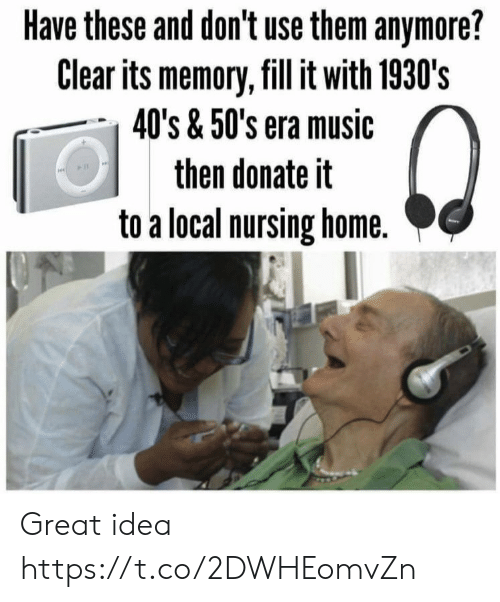Memes, Music, and Home: Have these and don't use them anymore?  Clear its memory, fill it with 1930's  40's & 50's era music  then donate it  to a local nursing home. Great idea https://t.co/2DWHEomvZn