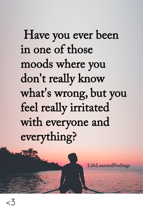 Memes, Been, and 🤖: Have you ever been  in one of those  moods where you  don't really know  what's wrong, but you  feel really irritated  with everyone and  everything?  LifeLearnedFeelings <3