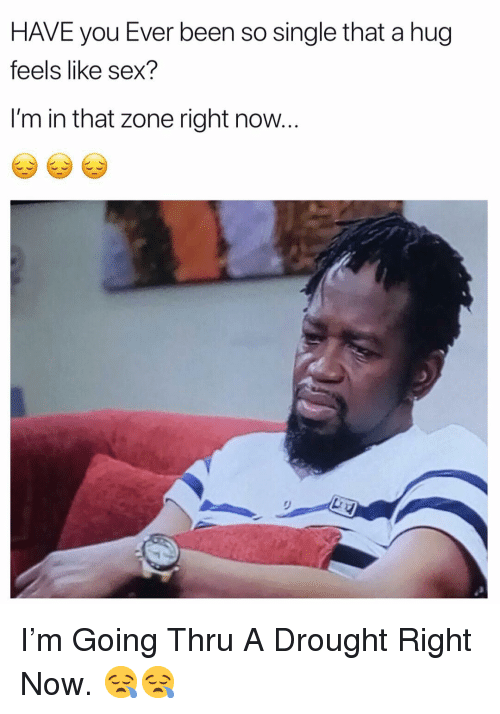 Sex, Dank Memes, and Single: HAVE you Ever been so single that a hug  feels like sex?  I'm in that zone right now I'm Going Thru A Drought Right Now. 😪😪