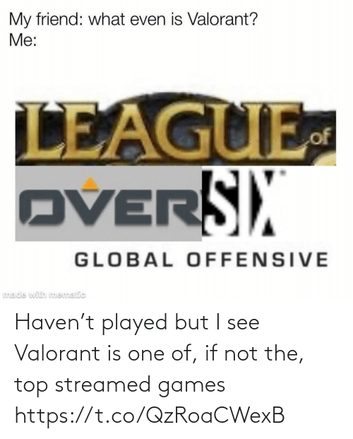 But I: Haven't played but I see Valorant is one of, if not the, top streamed games https://t.co/QzRoaCWexB