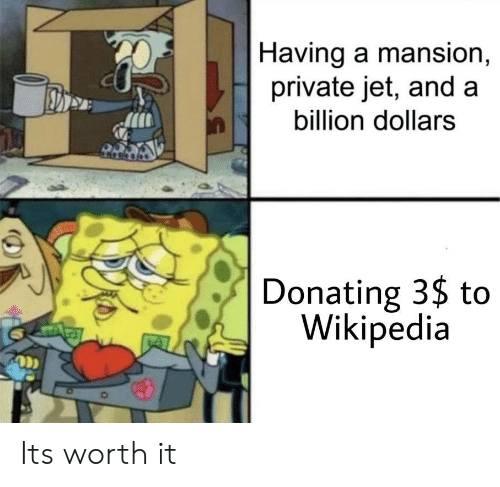 Mansion: |Having a mansion,  private jet, and a  billion dollars  Donating 3$ to  Wikipedia Its worth it