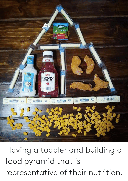 toddler: Having a toddler and building a food pyramid that is representative of their nutrition.