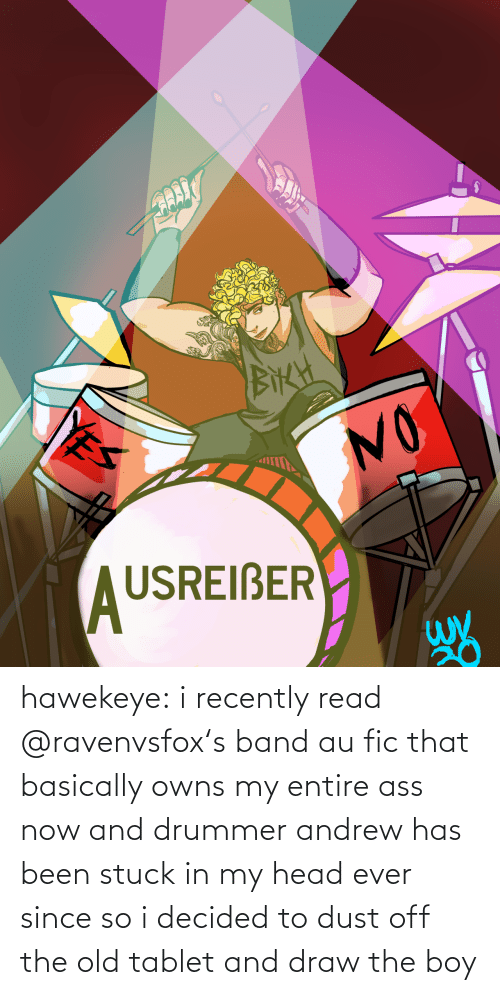 Band: hawekeye: i recently read @ravenvsfox​'s band au fic that basically owns my entire ass now and drummer andrew has been stuck in my head ever since so i decided to dust off the old tablet and draw the boy