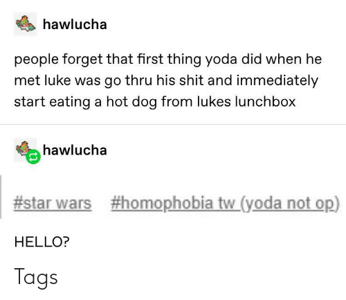 When He: hawlucha  people forget that first thing yoda did when he  met luke was go thru his shit and immediately  start eating a hot dog from lukes lunchbox  hawlucha  #star wars  #homophobia tw_(yoda not op)  HELLO? Tags