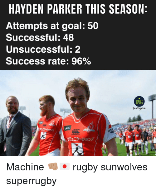Memes, Goal, and Rugby: HAYDEN PARKER THIS SEASON  Attempts at goal: 50  Successful: 48  Unsuccessful: 2  Success rate: 96%  RUGBY  MEMES  Instagnam  下ュニケーションズ Machine 👊🏽🇯🇵 rugby sunwolves superrugby