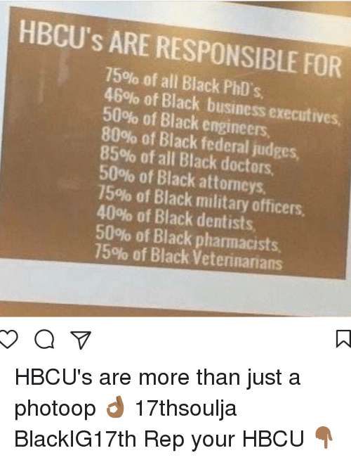 Memes, 🤖, and All Blacks: HBCU's ARE RESPONSIBLE FOR  75% of all Black PhD's,  46% of Black business executives,  50% of Black engineers.  80% of Black federal judges,  85% of all Black doctors.  50% of Black attomeys,  75% of Black military officers,  40% of Black dentists,  50% of Black pharmacists,  75% of Black Veterinarians HBCU's are more than just a photoop 👌🏾 17thsoulja BlackIG17th Rep your HBCU 👇🏾