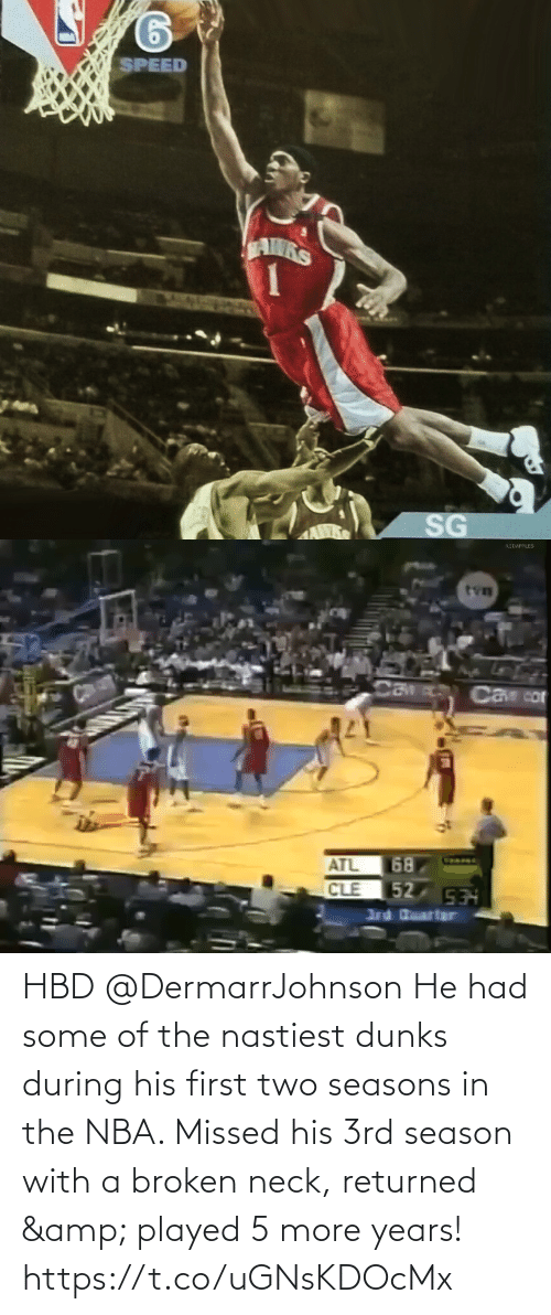 broken: HBD @DermarrJohnson He had some of the nastiest dunks during his first two seasons in the NBA. Missed his 3rd season with a broken neck, returned & played 5 more years! https://t.co/uGNsKDOcMx