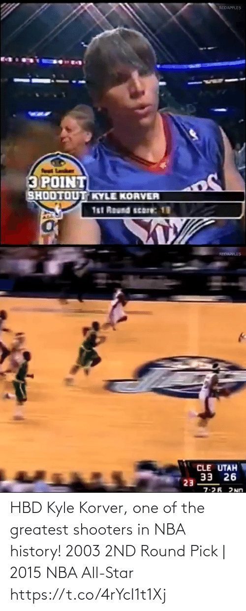 Kyle Korver: HBD Kyle Korver, one of the greatest shooters in NBA history!    2003 2ND Round Pick   2015 NBA All-Star https://t.co/4rYcI1t1Xj
