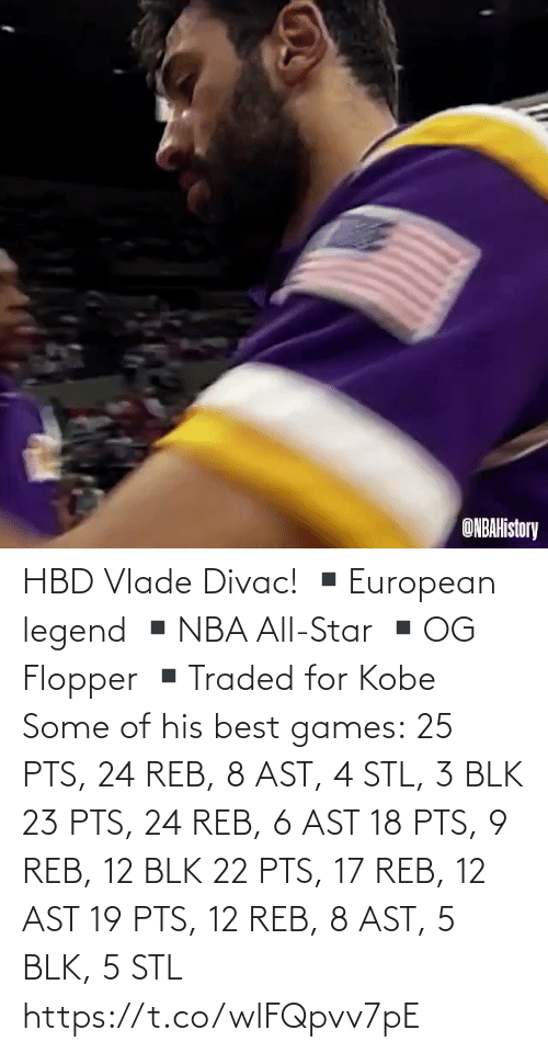 Of His: HBD Vlade Divac!  ▪️European legend ▪️NBA All-Star ▪️OG Flopper ▪️Traded for Kobe  Some of his best games: 25 PTS, 24 REB, 8 AST, 4 STL, 3 BLK 23 PTS, 24 REB, 6 AST 18 PTS, 9 REB, 12 BLK 22 PTS, 17 REB, 12 AST 19 PTS, 12 REB, 8 AST, 5 BLK, 5 STL   https://t.co/wlFQpvv7pE