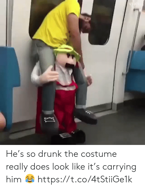 So Drunk: He's so drunk the costume really does look like it's carrying him 😂 https://t.co/4tStiiGe1k