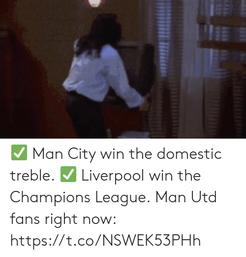 Soccer, Liverpool F.C., and Champions League: HE ✅ Man City win the domestic treble.  ✅ Liverpool win the Champions League.  Man Utd fans right now: https://t.co/NSWEK53PHh