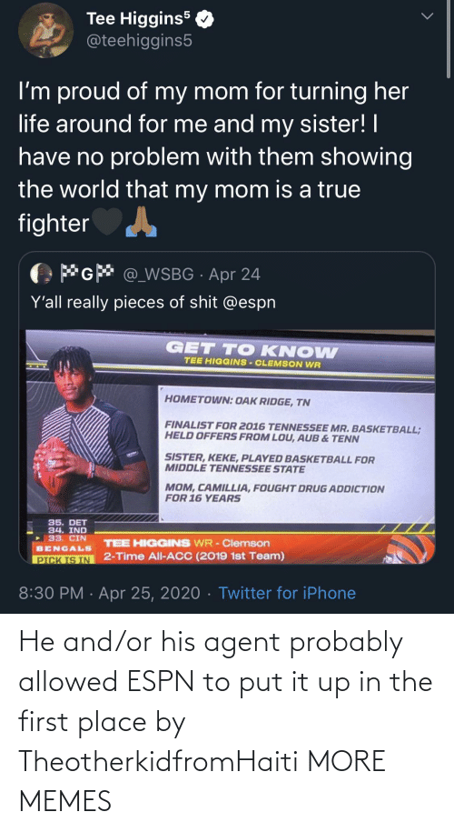 ESPN: He and/or his agent probably allowed ESPN to put it up in the first place by TheotherkidfromHaiti MORE MEMES