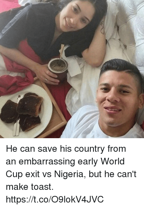 Soccer, World Cup, and Nigeria: He can save his country from an embarrassing early World Cup exit vs Nigeria, but he can't make toast. https://t.co/O9lokV4JVC