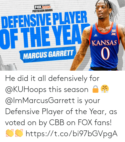 fox: He did it all defensively for @KUHoops this season 🔒😤  @ImMarcusGarrett is your Defensive Player of the Year, as voted on by CBB on FOX fans! 👏👏 https://t.co/bi97bGVpgA