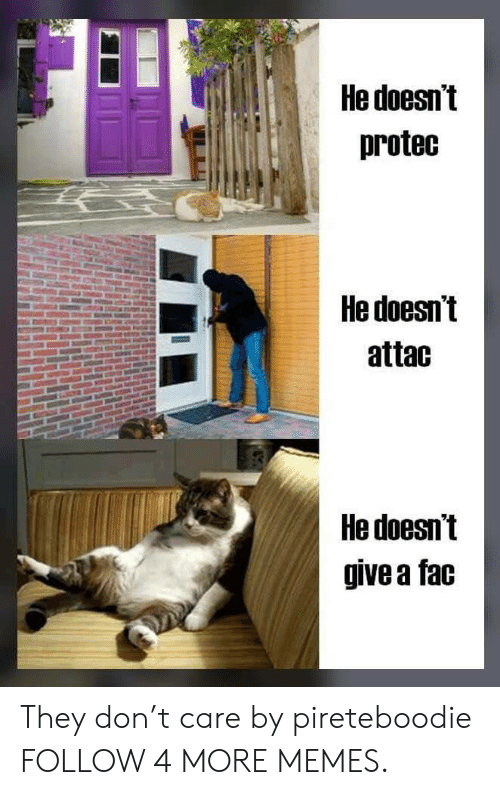 T Care: He doesn't  protec  He doesn't  attac  He doesn't  give a fac They don't care by pireteboodie FOLLOW 4 MORE MEMES.