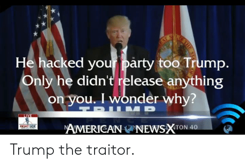 Memes, Party, and American: He hacked your party too Trump  Only he didn't release anything  on you. I wonder why?  AMERICAN ONEWSXTON 40  や  RIGHT SIDE Trump the traitor.