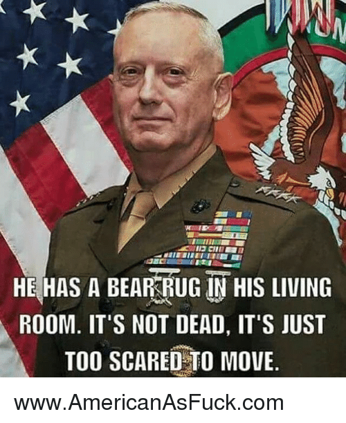 Rugs: HE HAS A BEAR RUG IN HIS LIVING  ROOM. IT'S NOT DEAD, IT'S JUST  TOO SCARED TO MOVE www.AmericanAsFuck.com