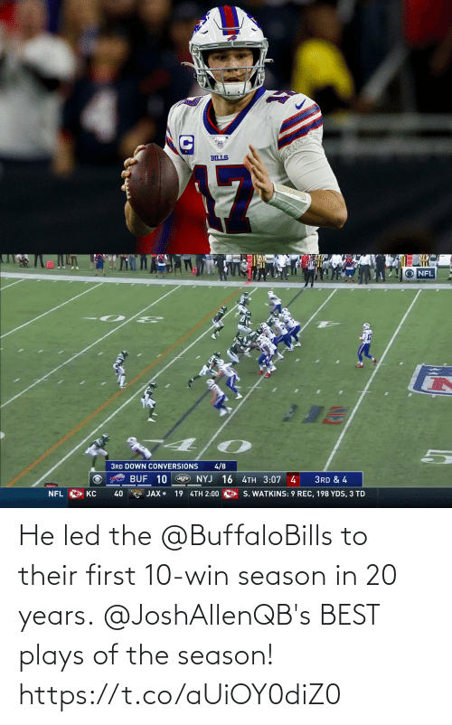 20 Years: He led the @BuffaloBills to their first 10-win season in 20 years.  @JoshAllenQB's BEST plays of the season! https://t.co/aUiOY0diZ0