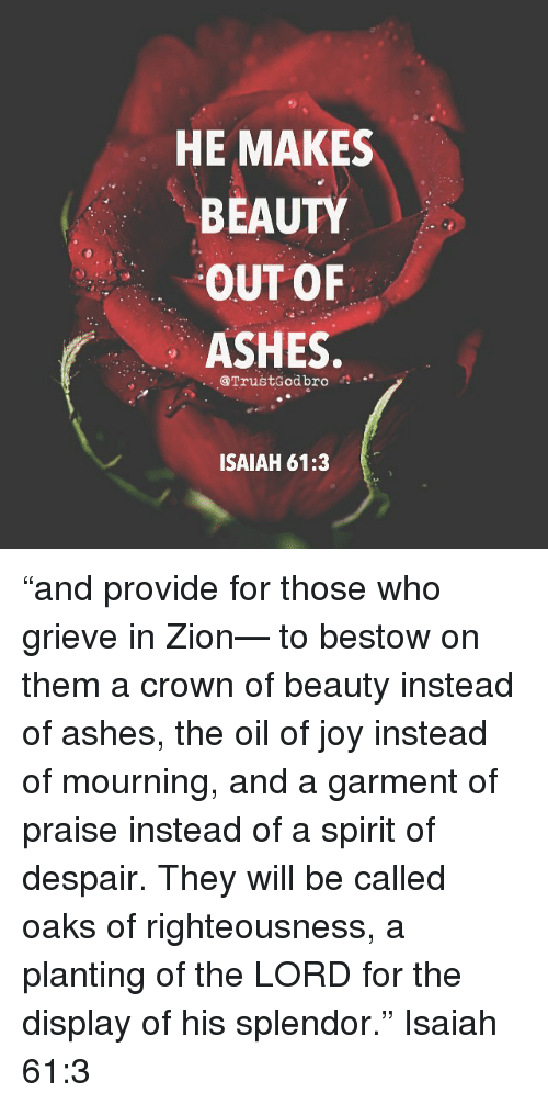 """bestow: HE MAKES  BEAUTY  OUT OF  ASHES  @TrustGod bro  ISAIAH 61:3 """"and provide for those who grieve in Zion— to bestow on them a crown of beauty instead of ashes, the oil of joy instead of mourning, and a garment of praise instead of a spirit of despair. They will be called oaks of righteousness, a planting of the LORD for the display of his splendor."""" Isaiah 61:3"""