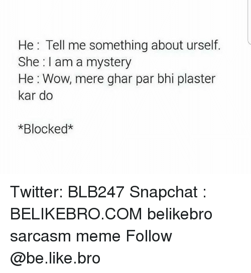 —˜: He: Tell me something about urself.  She I am a mystery  He : Wow, mere ghar par bhi plaster  kar do  *Blocked* Twitter: BLB247 Snapchat : BELIKEBRO.COM belikebro sarcasm meme Follow @be.like.bro