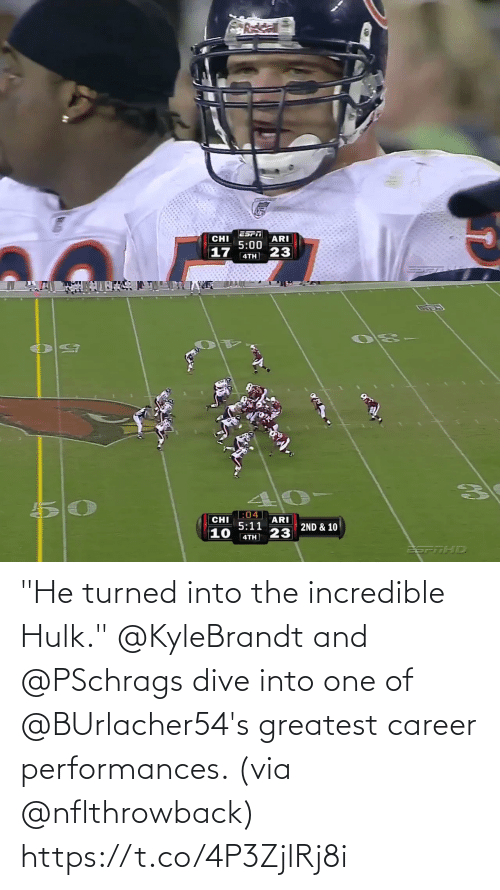 """Turned: """"He turned into the incredible Hulk.""""  @KyleBrandt and @PSchrags dive into one of @BUrlacher54's greatest career performances. (via @nflthrowback) https://t.co/4P3ZjlRj8i"""
