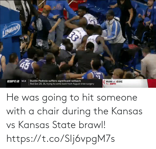 He Was: He was going to hit someone with a chair during the Kansas vs Kansas State brawl!  https://t.co/Slj6vpgM7s