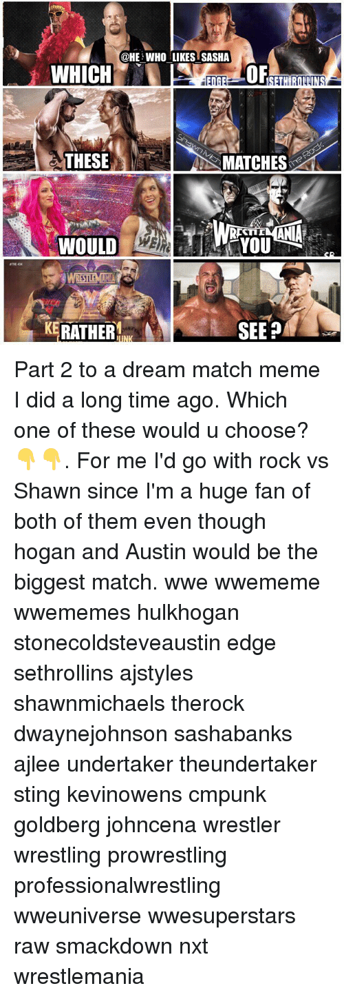 goldbergs: @HE WHO LIKES SASHA  OF  THESE  S MATCHES  TID  WOULD  THE 434  KERATHER  SEEP Part 2 to a dream match meme I did a long time ago. Which one of these would u choose?👇👇. For me I'd go with rock vs Shawn since I'm a huge fan of both of them even though hogan and Austin would be the biggest match. wwe wwememe wwememes hulkhogan stonecoldsteveaustin edge sethrollins ajstyles shawnmichaels therock dwaynejohnson sashabanks ajlee undertaker theundertaker sting kevinowens cmpunk goldberg johncena wrestler wrestling prowrestling professionalwrestling wweuniverse wwesuperstars raw smackdown nxt wrestlemania